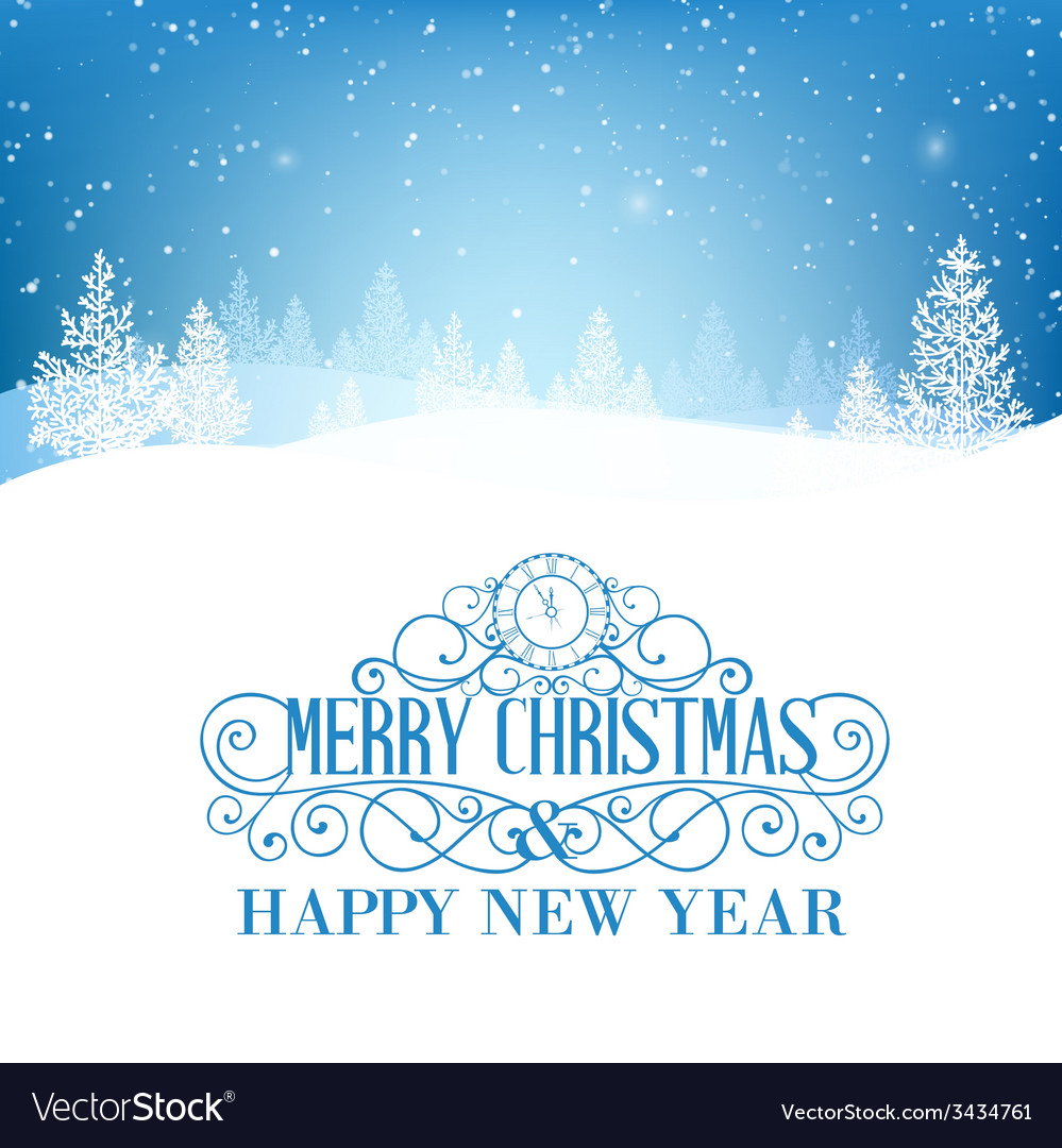 Merry christmas landscape vector   Price: 1 Credit (USD $1)