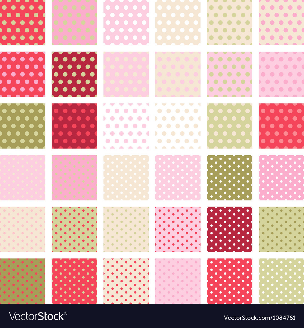 Seamless abstract retro pattern set of 36 polka vector | Price: 1 Credit (USD $1)