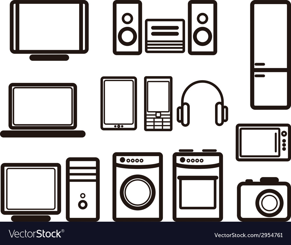 Set of electronic devices vector | Price: 1 Credit (USD $1)