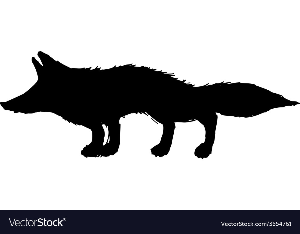 Silhouette of red fox vector | Price: 1 Credit (USD $1)