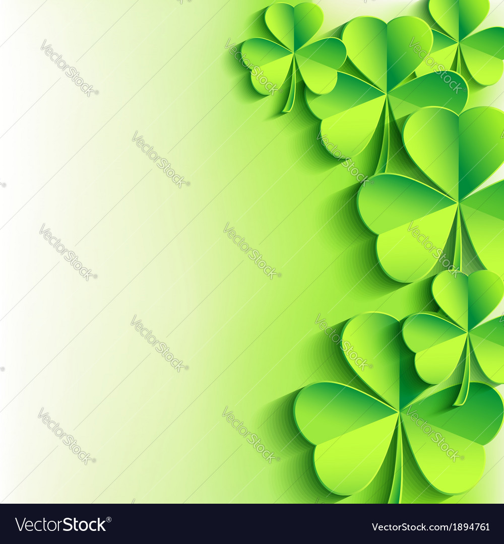 St patricks day background with green leaf clover vector | Price: 1 Credit (USD $1)