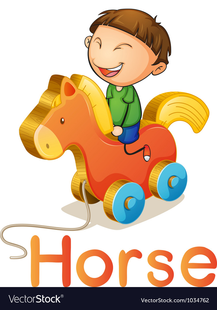 A boy on a toy horse vector | Price: 1 Credit (USD $1)