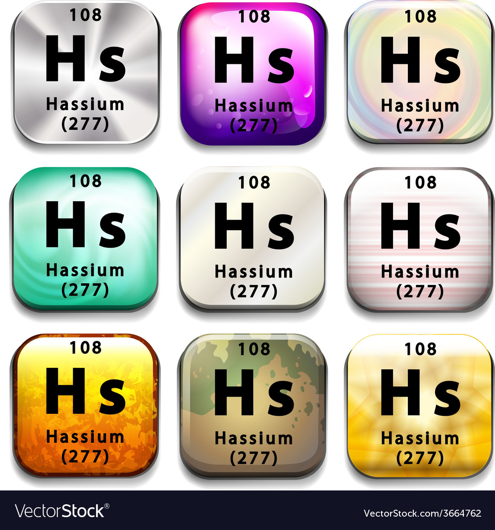 A periodic table showing hassium vector | Price: 1 Credit (USD $1)