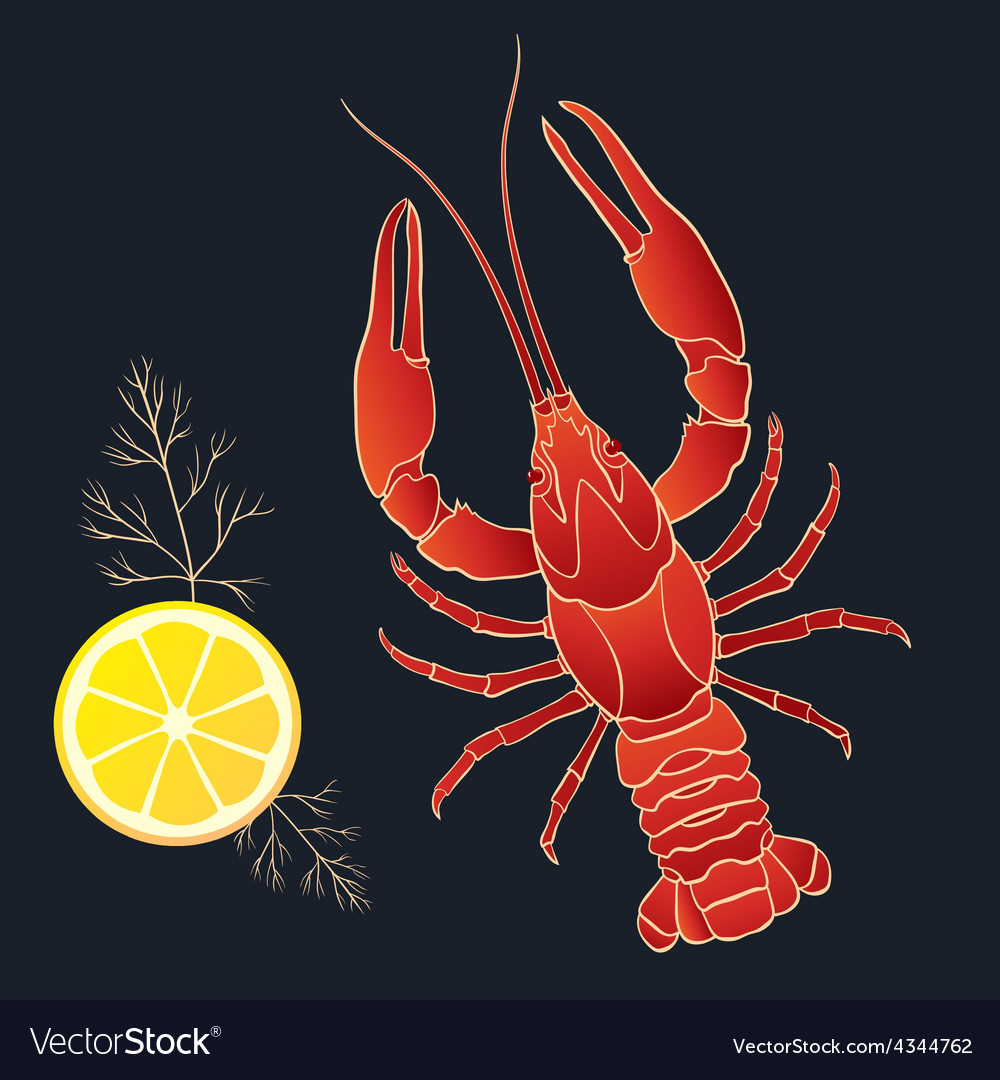 Crayfish with lemon and dill vector | Price: 1 Credit (USD $1)