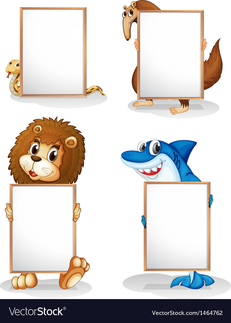 Four animals with empty whiteboards vector | Price: 1 Credit (USD $1)