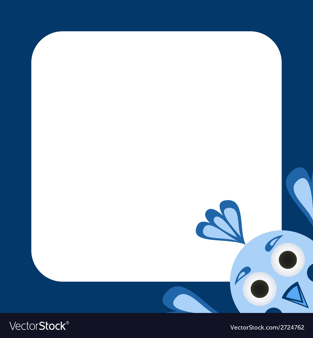 Frame with a funny blue bird vector | Price: 1 Credit (USD $1)