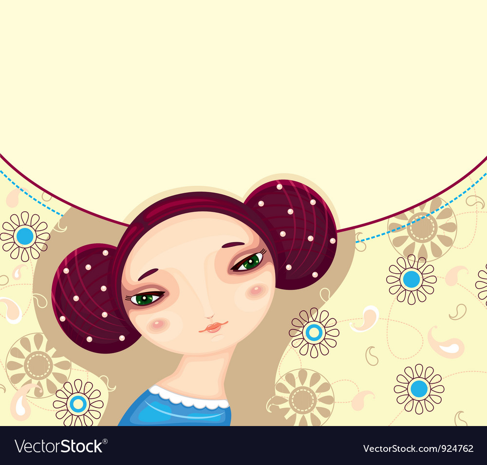 Girl face flower card vector | Price: 3 Credit (USD $3)