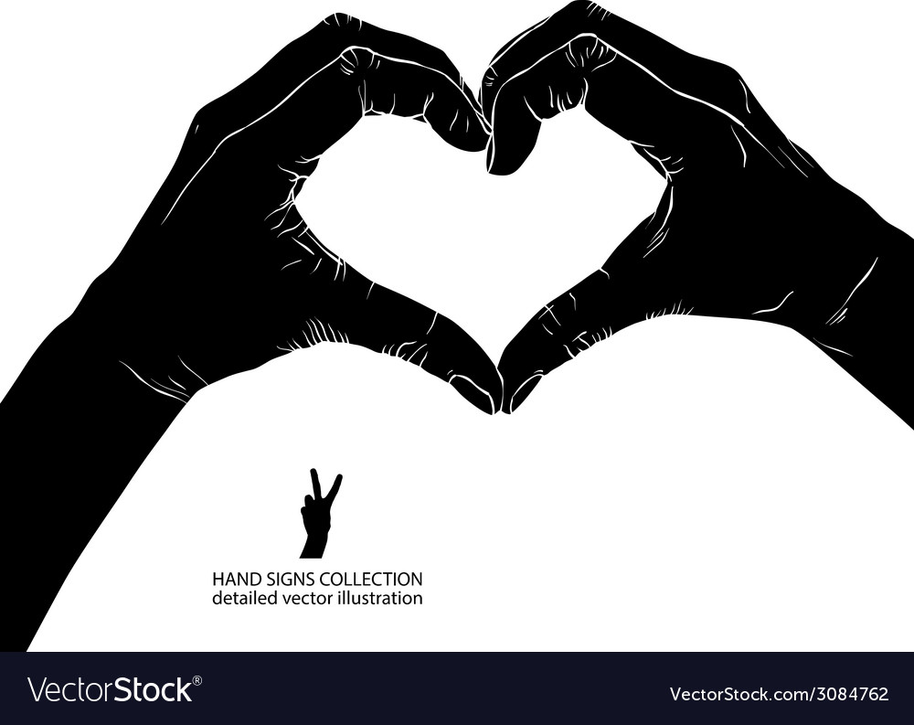 Hands in heart form detailed black and white vector   Price: 1 Credit (USD $1)