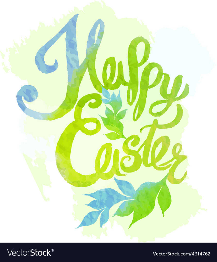 Happy easter watercolor painted colored stylized vector | Price: 1 Credit (USD $1)