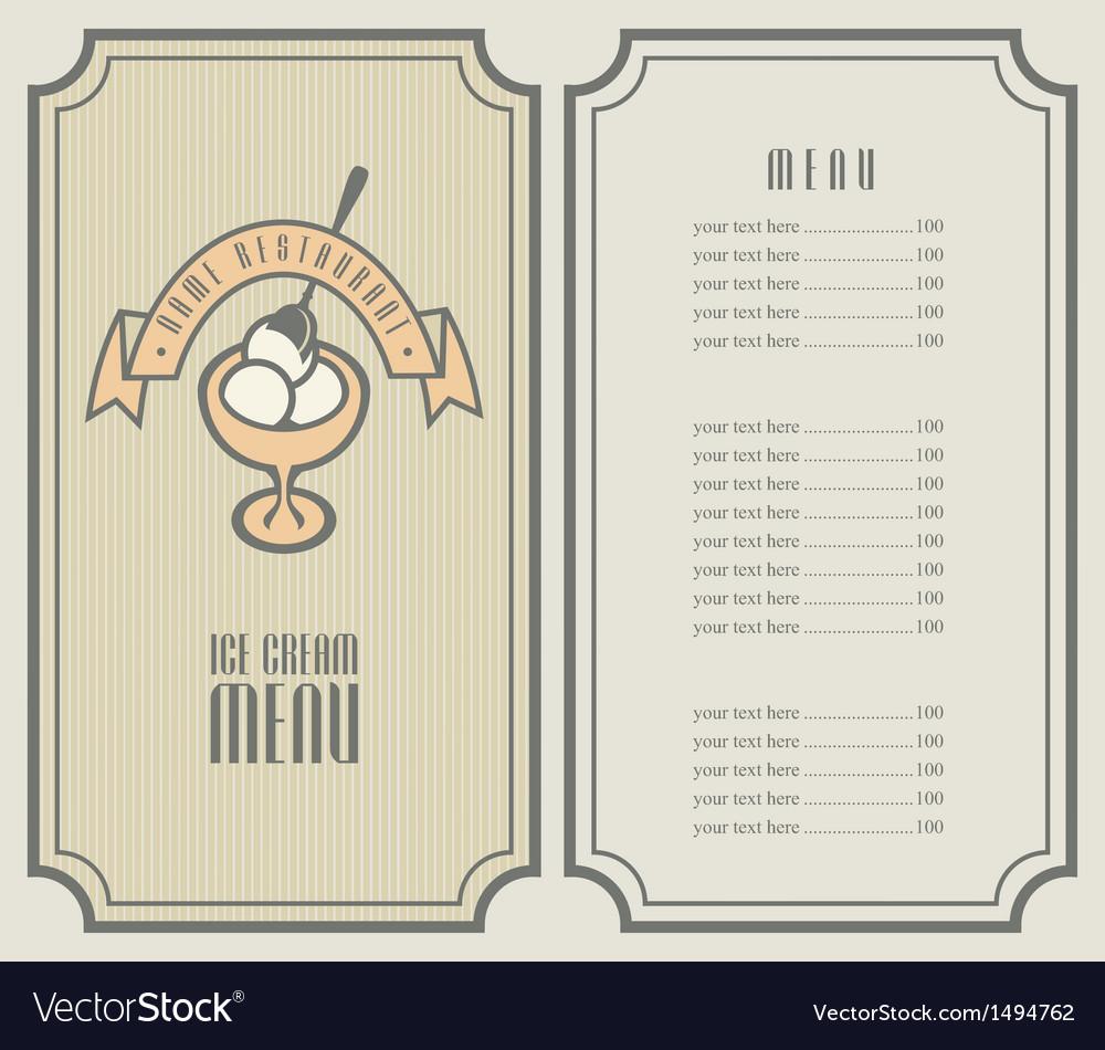 Ice cream menu vector | Price: 1 Credit (USD $1)