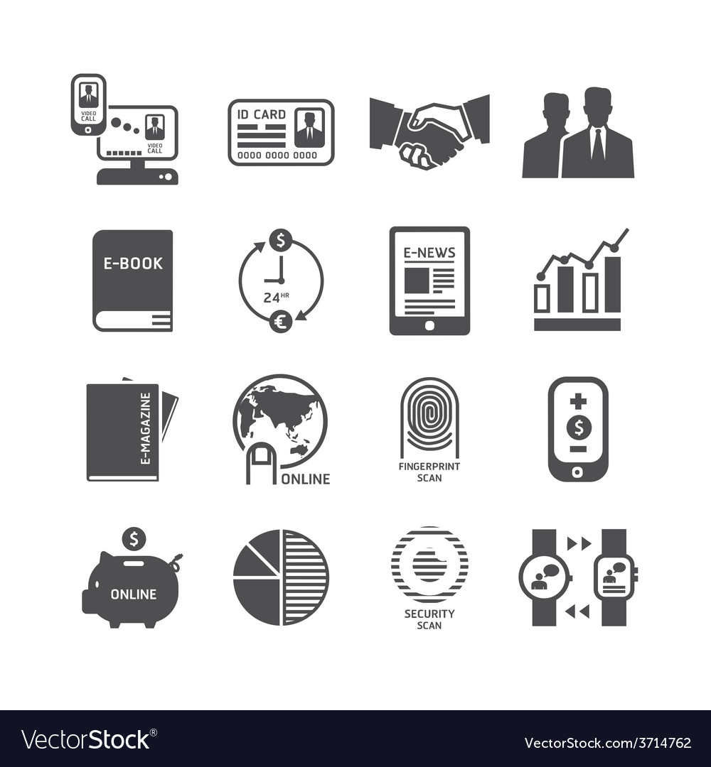 Icons set business technology design vector | Price: 1 Credit (USD $1)