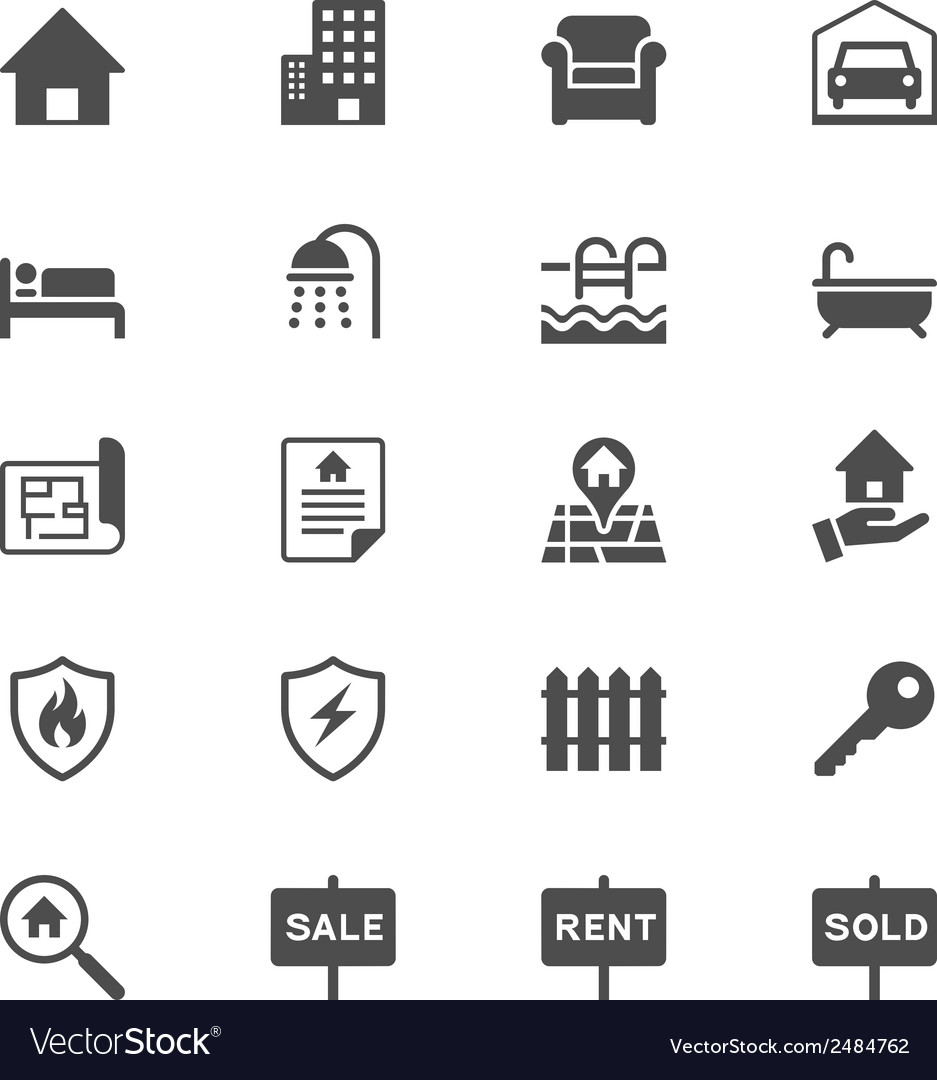 Real estate flat icons vector | Price: 1 Credit (USD $1)