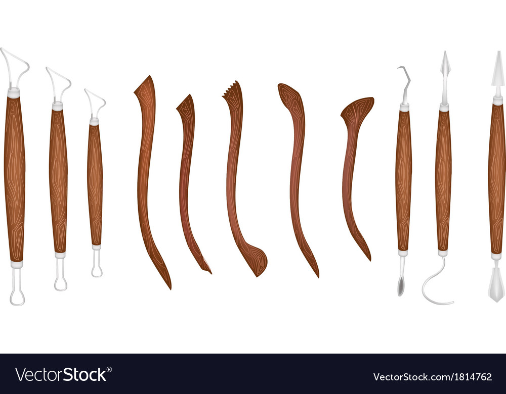 Set of sculpting tools on white background vector | Price: 1 Credit (USD $1)