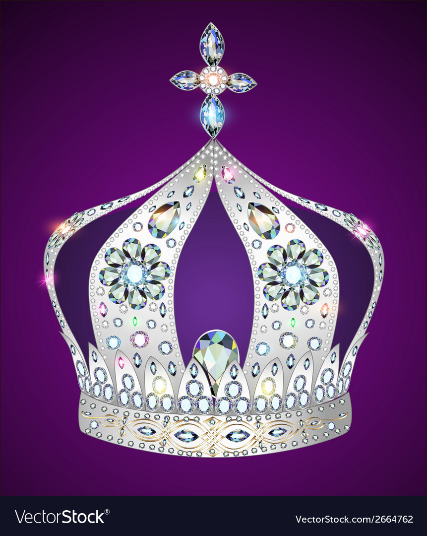 Shiny crown of silver vector