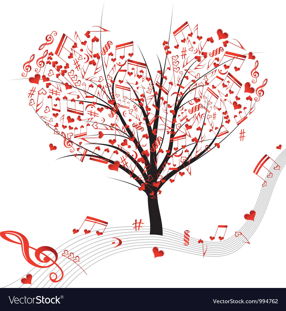 Tree music heart vector | Price: 1 Credit (USD $1)