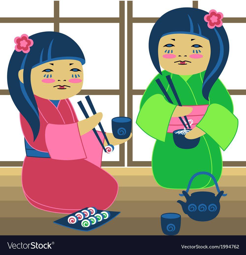 Two japanese girl vector | Price: 1 Credit (USD $1)