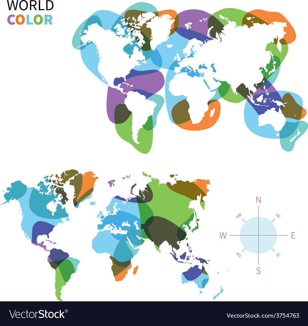 Abstract color map of world vector | Price: 1 Credit (USD $1)