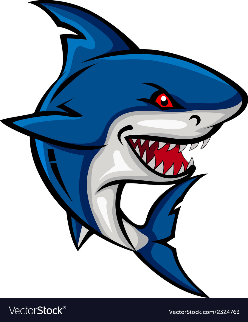 Angry shark cartoon vector | Price: 1 Credit (USD $1)