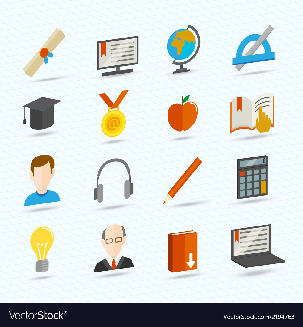 E-learning flat icons vector | Price: 1 Credit (USD $1)
