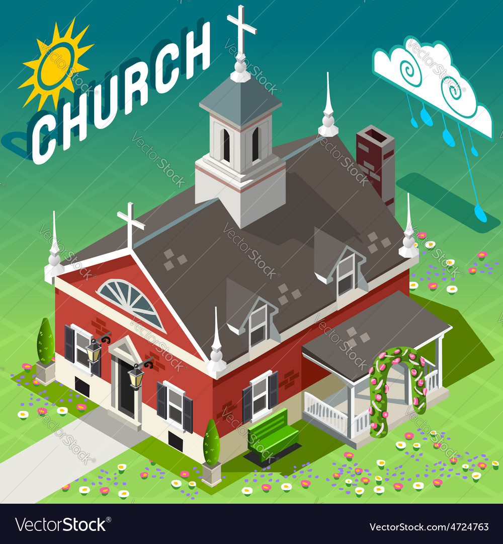 Isometric rural church building vector | Price: 1 Credit (USD $1)