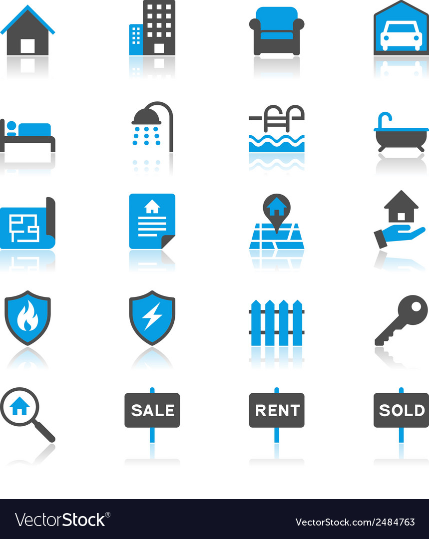 Real estate flat with reflection icons vector | Price: 1 Credit (USD $1)