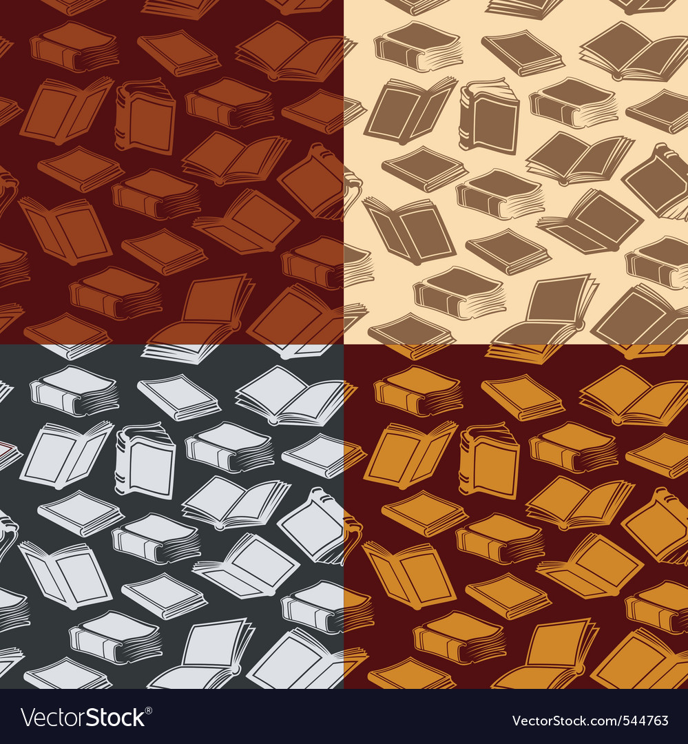 Seamless patterns with books vector | Price: 1 Credit (USD $1)