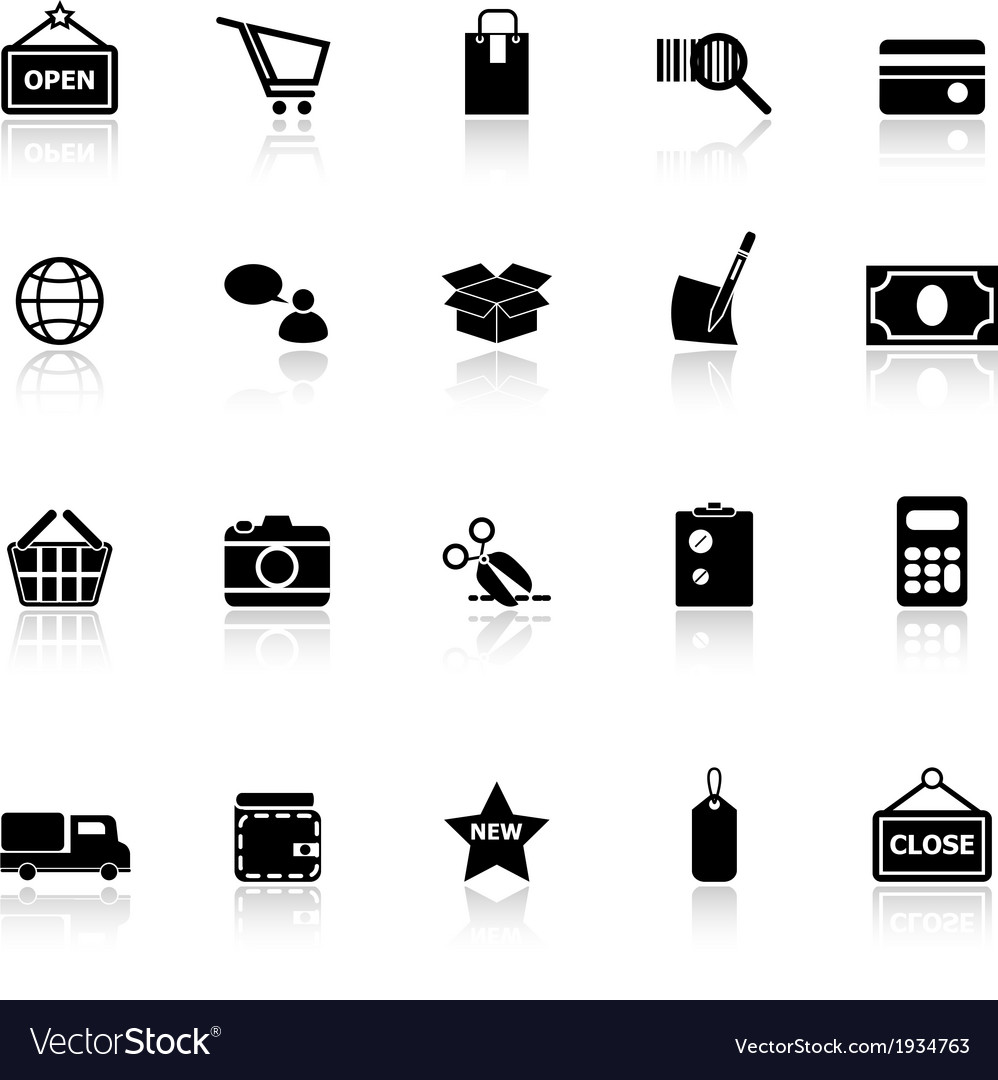 Shopping icons with reflect on white background vector | Price: 1 Credit (USD $1)