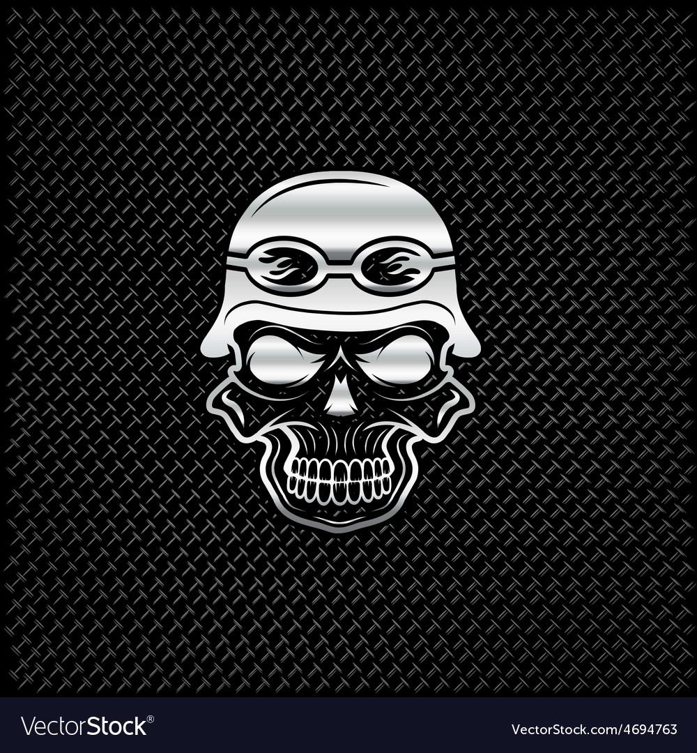 Silver skull in helmet on metal background biker vector | Price: 1 Credit (USD $1)