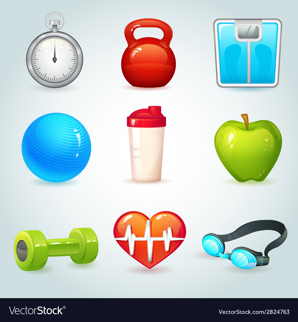 Sport and fitness icons vector | Price: 1 Credit (USD $1)
