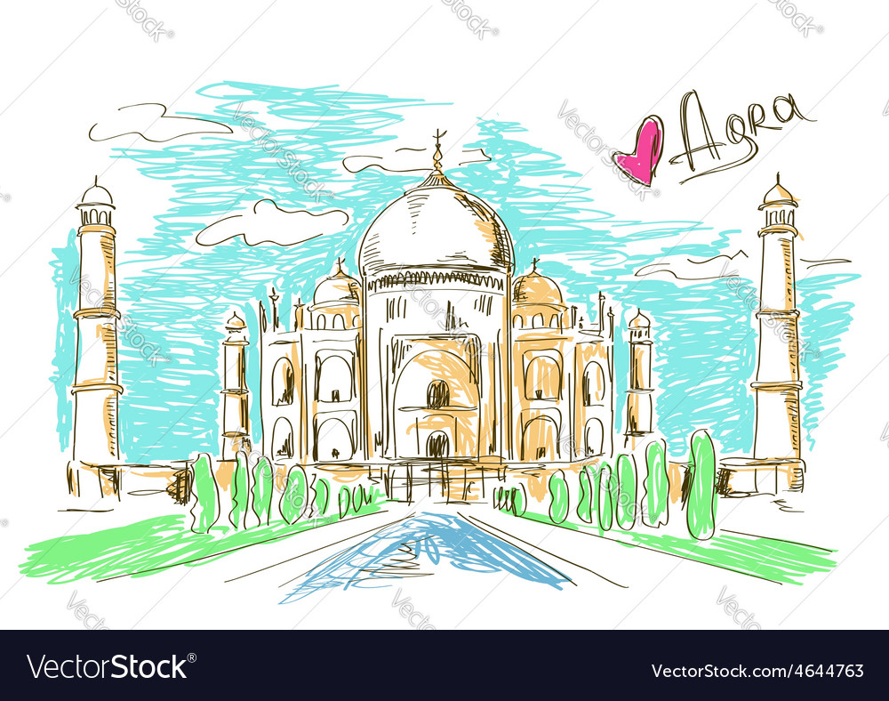 Taj mahal in agra vector | Price: 1 Credit (USD $1)