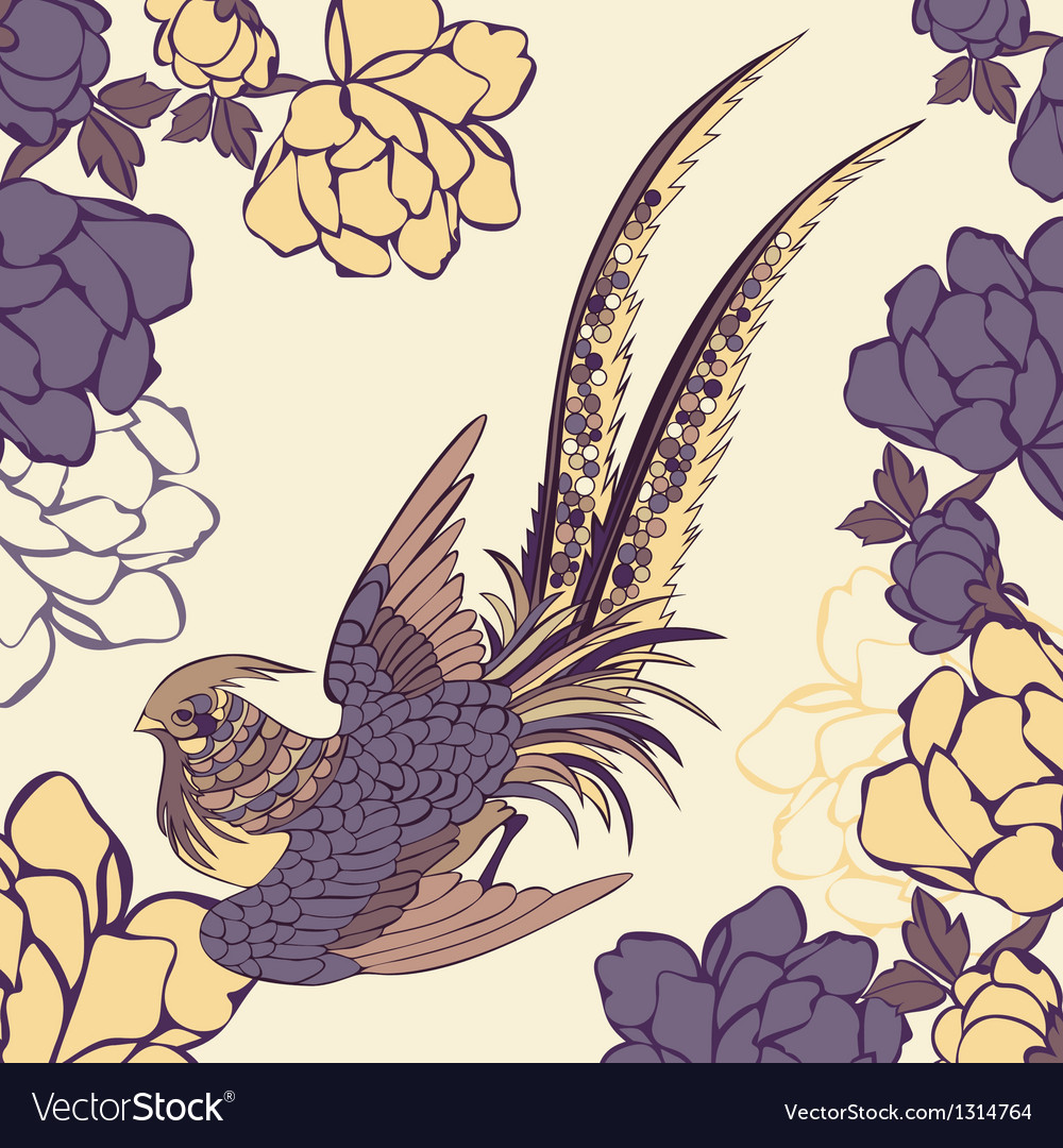 A bird in a garden vector | Price: 1 Credit (USD $1)