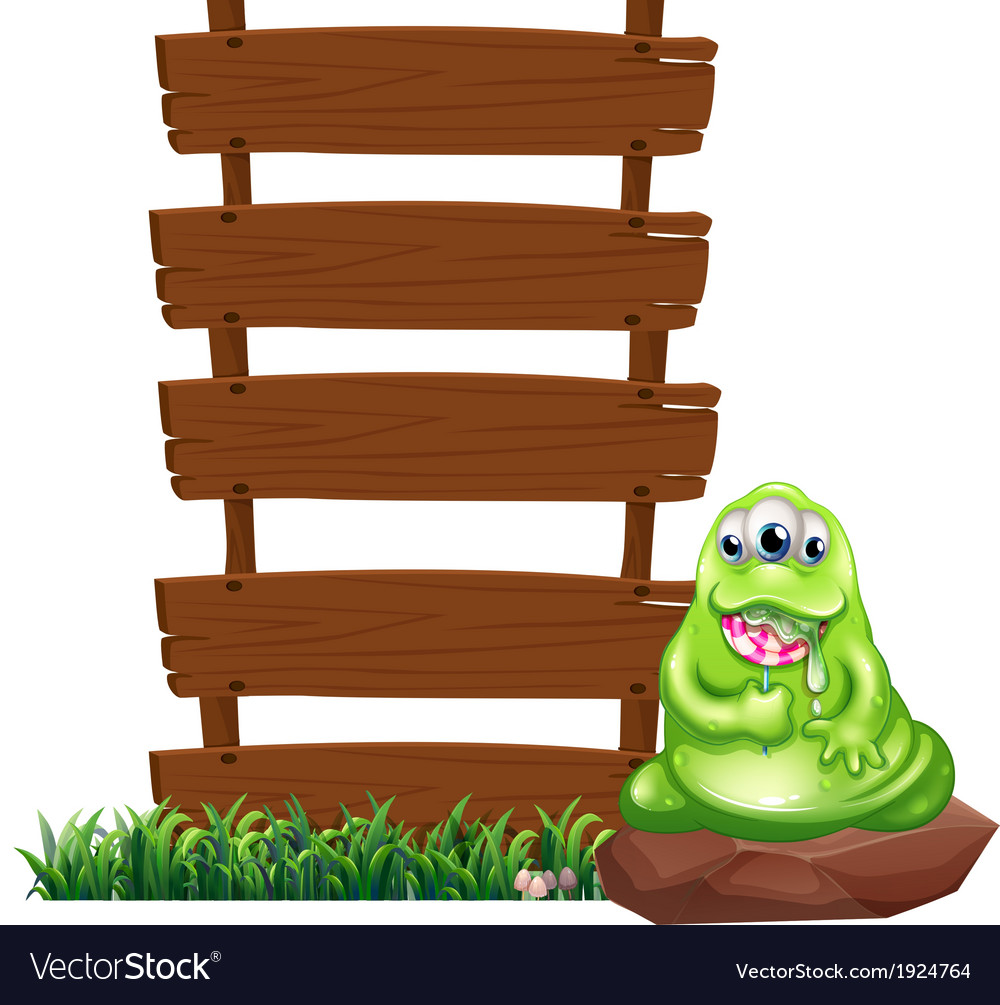 A monster beside the empty wooden boards vector | Price: 3 Credit (USD $3)