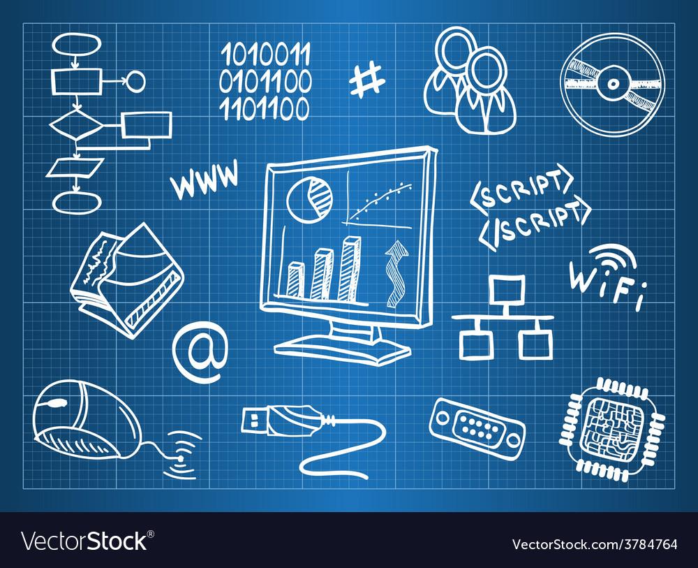 Blueprint of computer hardware vector | Price: 1 Credit (USD $1)