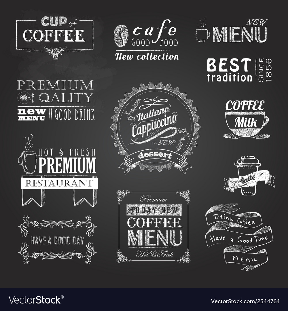 Chalk calligraphic drawing set of coffee sticker vector | Price: 1 Credit (USD $1)