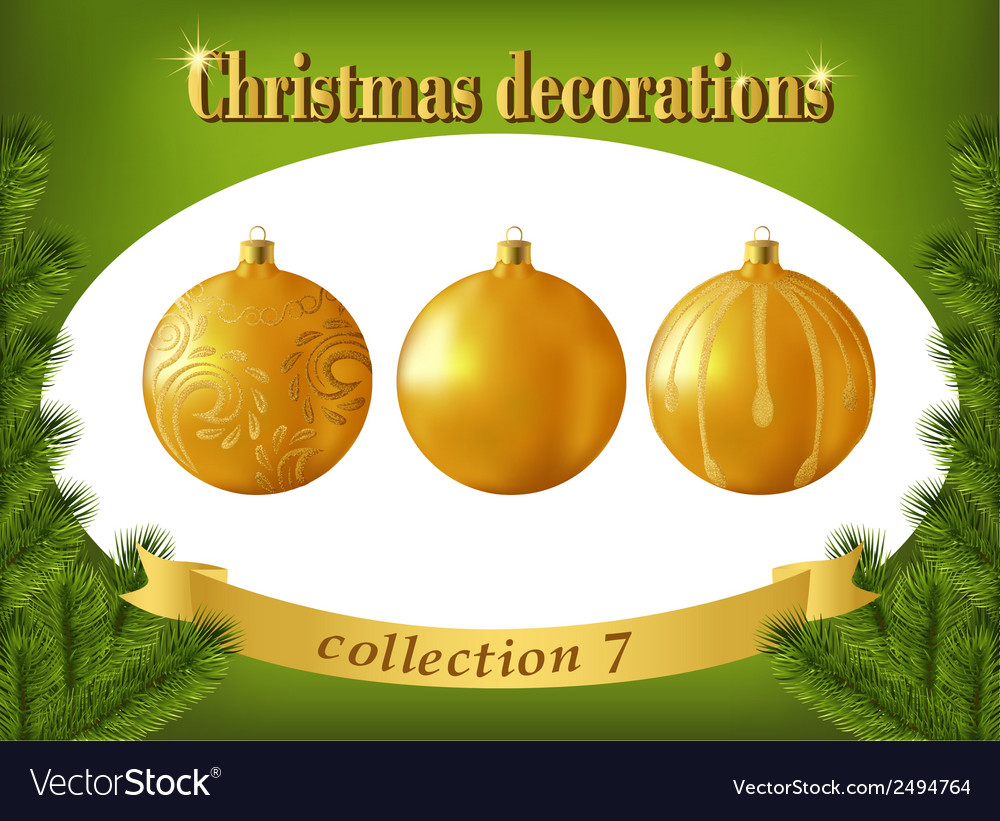 Christmas decorations collection of gold glass vector | Price: 1 Credit (USD $1)