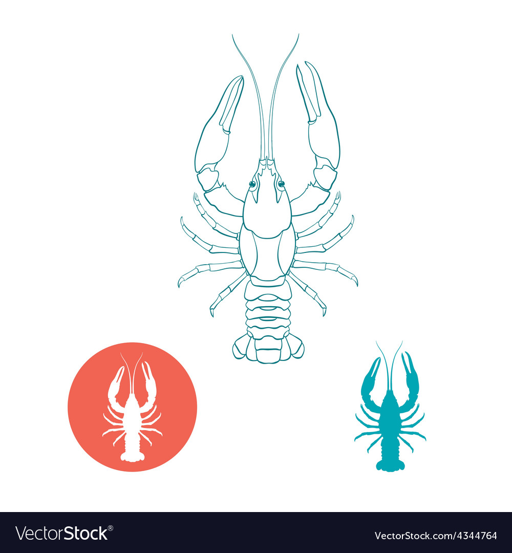 Crayfish silhouette and flat icon vector | Price: 1 Credit (USD $1)