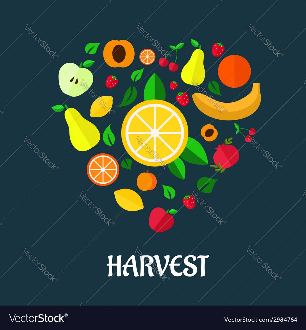 Fruits harvest flat design vector | Price: 1 Credit (USD $1)
