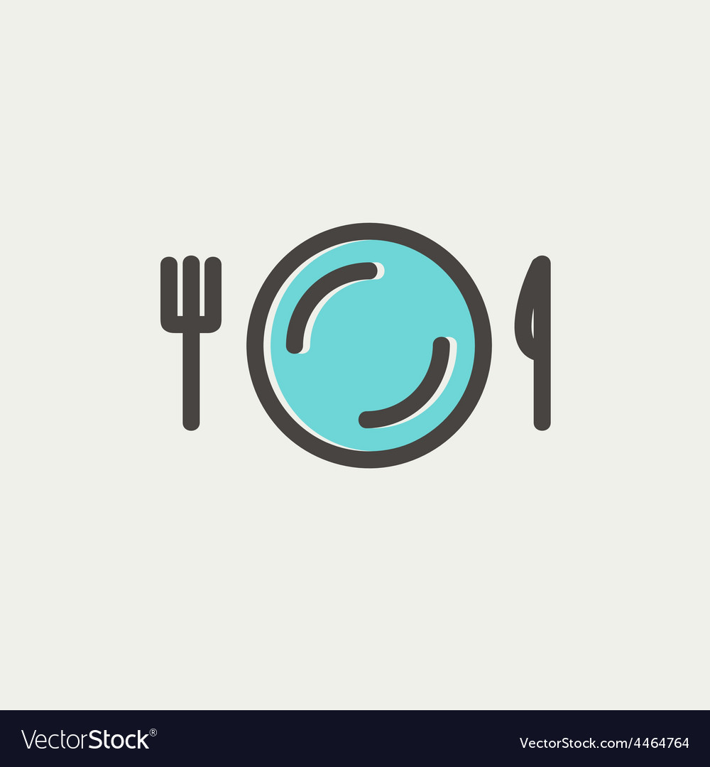 Plate knife and fork thin line icon vector | Price: 1 Credit (USD $1)