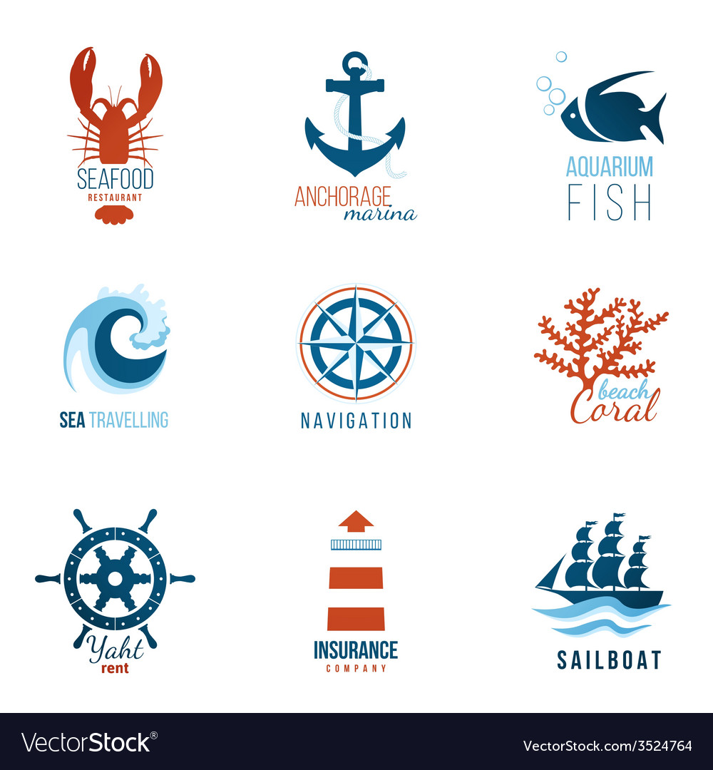 Sea theme logo templates vector | Price: 1 Credit (USD $1)