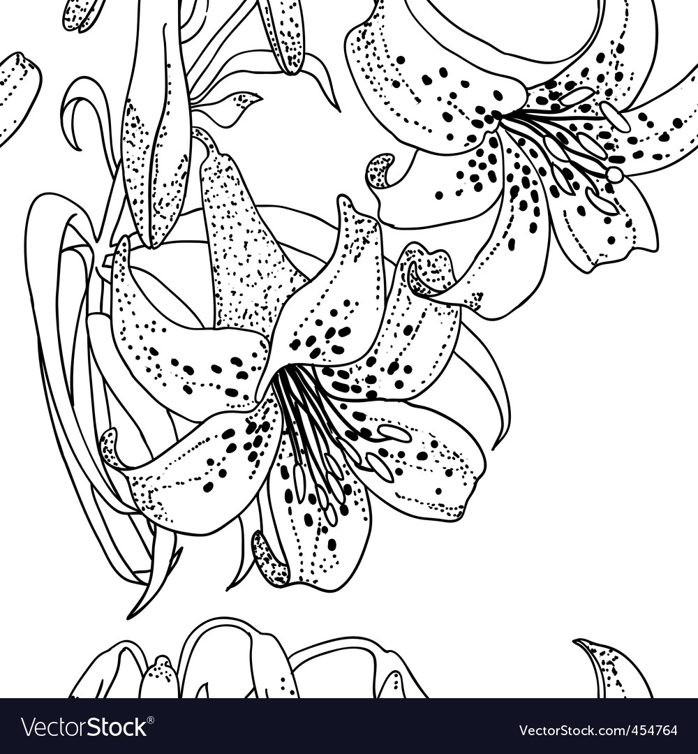 Seamless wallpaper with lily flowers vector   Price: 1 Credit (USD $1)