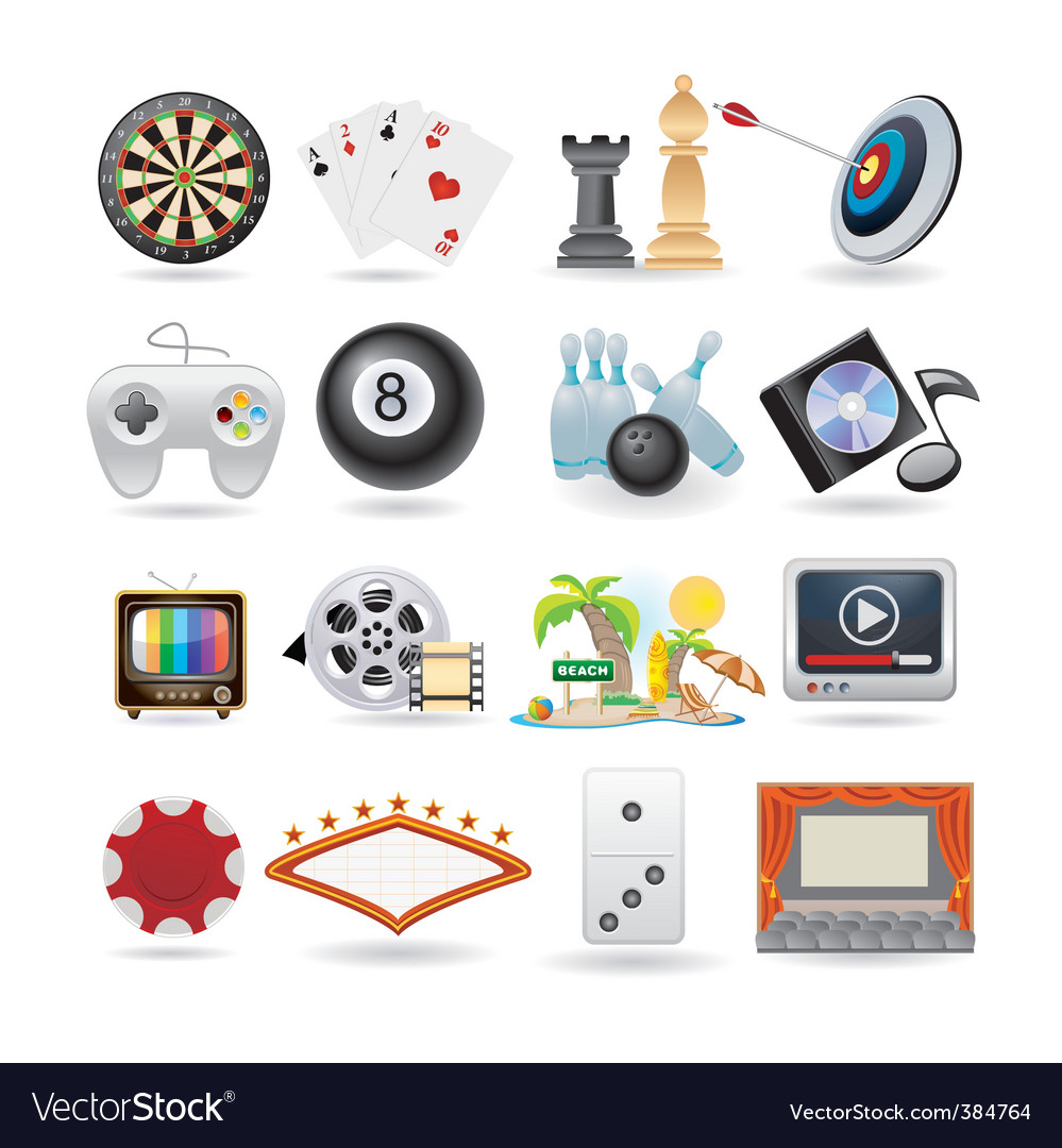Set of entertainment icons vector | Price: 3 Credit (USD $3)
