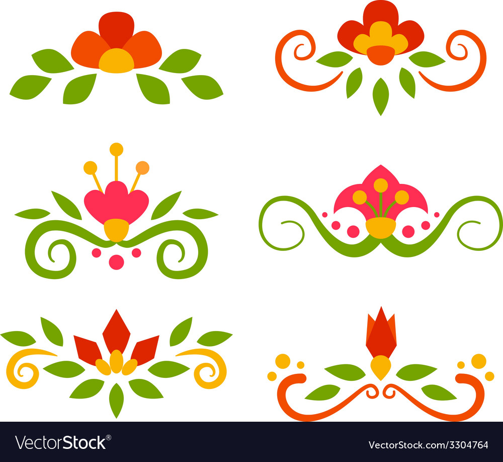 Set of floral fairy separators in flat style vector | Price: 1 Credit (USD $1)