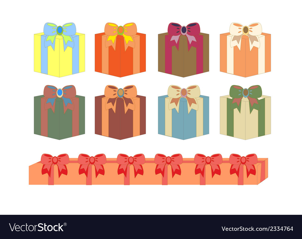 Set of gift boxes in different colors vector   Price: 1 Credit (USD $1)