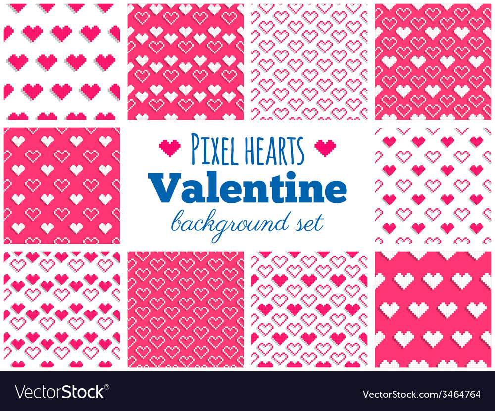 Set of seamless pixel art heart patterns vector | Price: 1 Credit (USD $1)