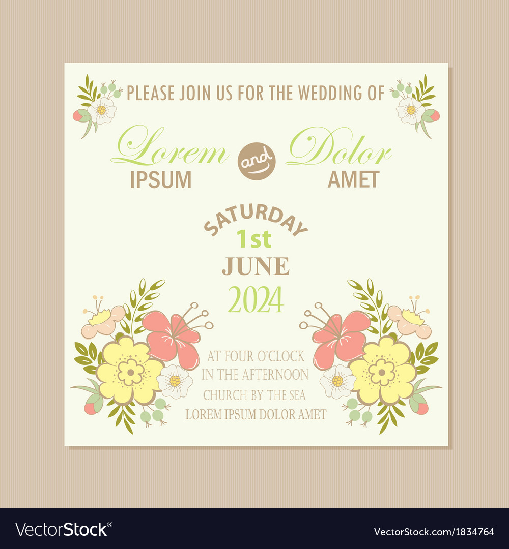 Spring floral wedding invitation card vector | Price: 1 Credit (USD $1)