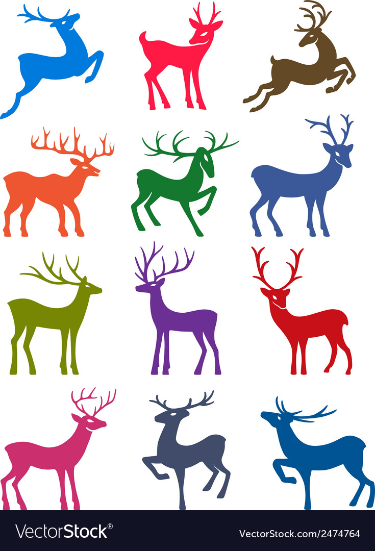 Twelve colored deer silhouettes vector | Price: 1 Credit (USD $1)