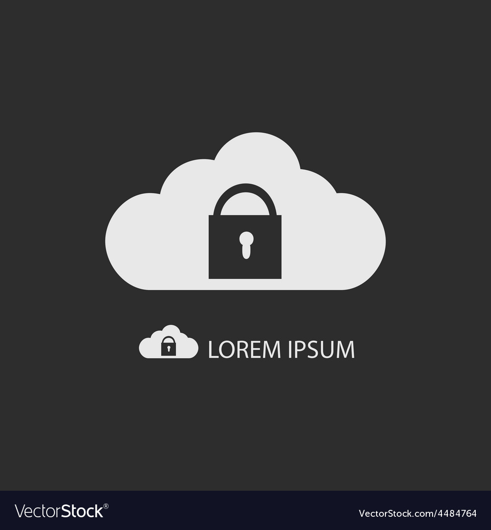 White cloud with lock on dark grey vector | Price: 1 Credit (USD $1)