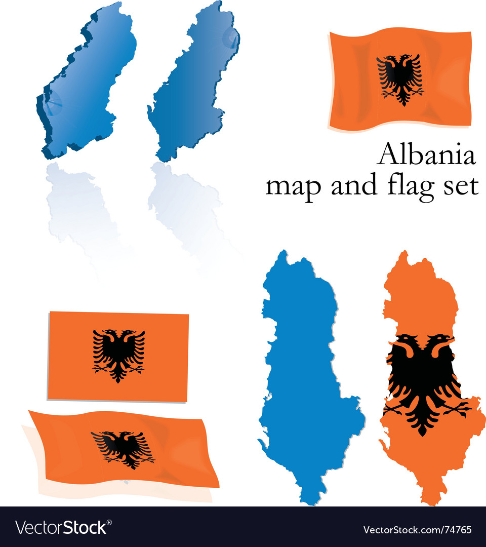 Albania map and flag set vector | Price: 1 Credit (USD $1)