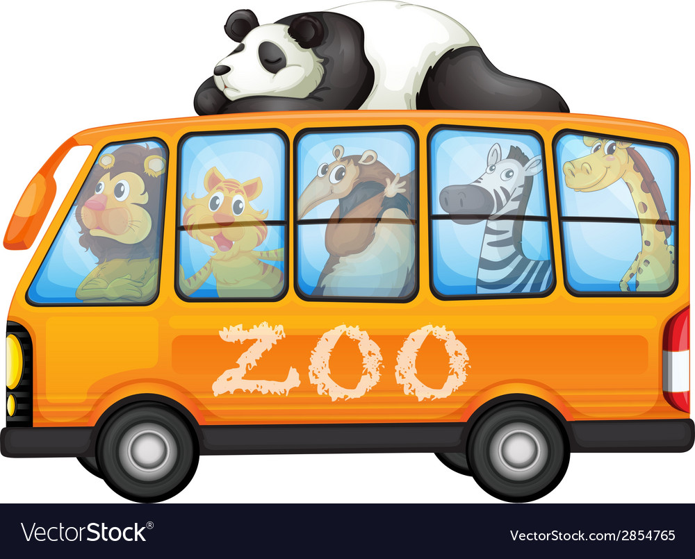 Animals on bus vector | Price: 3 Credit (USD $3)