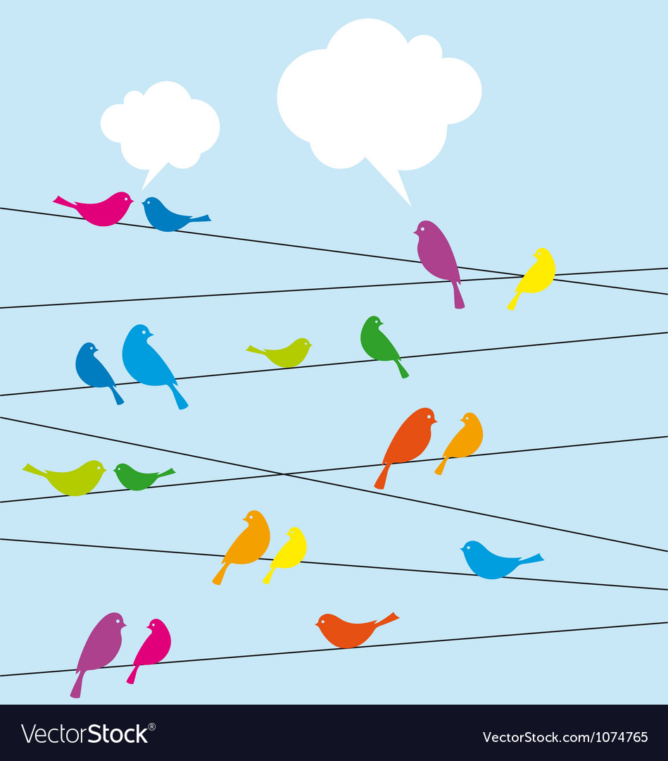 Birds sitting on wire vector | Price: 1 Credit (USD $1)